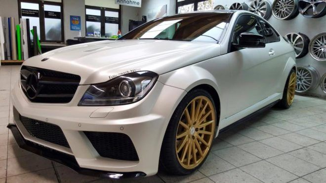 Foliernwerk Nrw Mercedes Benz C350 Mit Black Series Optik