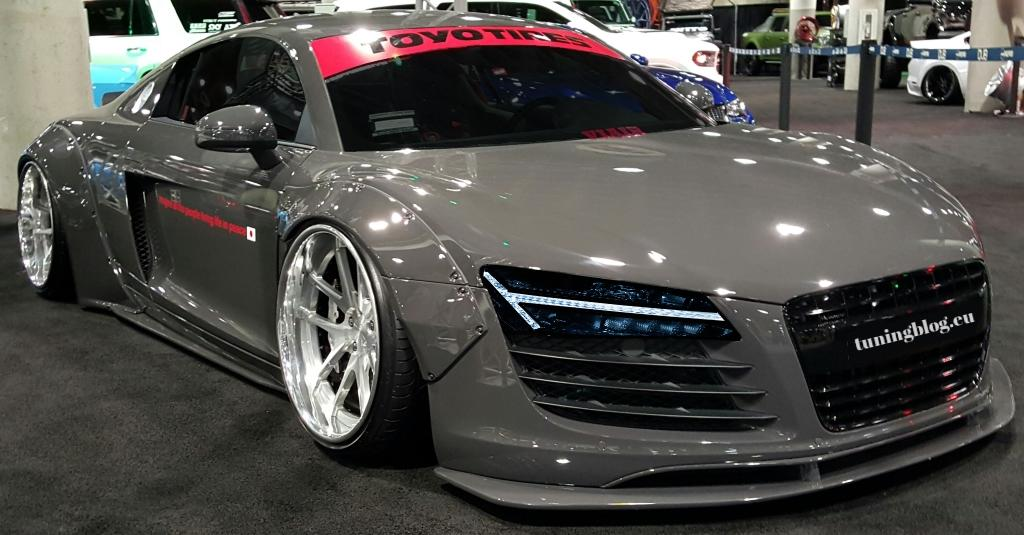 Liberty Walk Audi R8 Tuning Vorlage V90 Headlights Liberty Walk Audi R8 Breitbau in Nardo Grau by tuningblog.eu