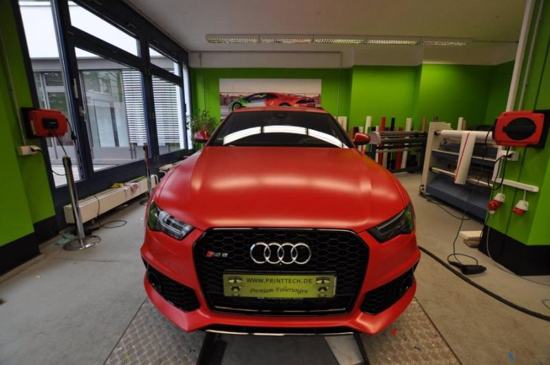 Mattrot Satin Audi RS6 C7 Avant Folierung Tuning Print Tech Premium Wrapping 2
