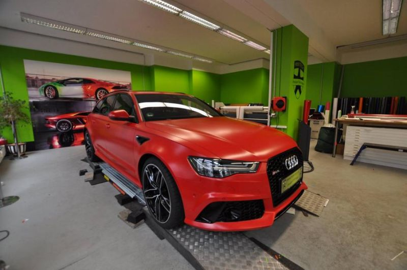 Mattrot Satin Audi RS6 C7 Avant Folierung Tuning Print Tech Premium Wrapping 3