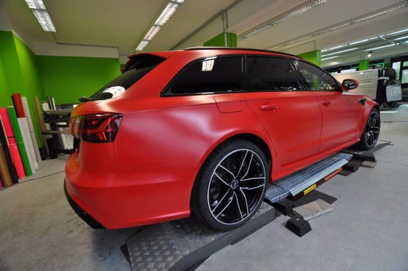 Mattrot Satin Audi RS6 C7 Avant Folierung Tuning Print Tech Premium Wrapping 7