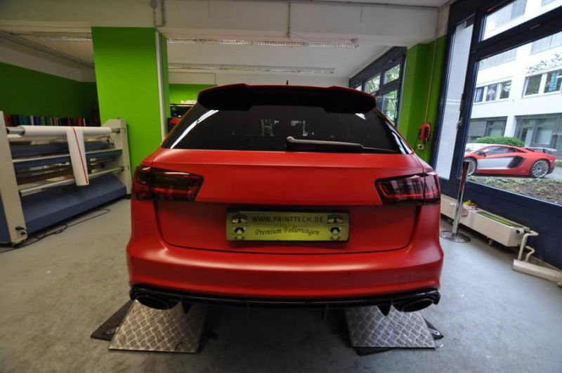 Mattrot Satin Audi RS6 C7 Avant Folierung Tuning Print Tech Premium Wrapping 8