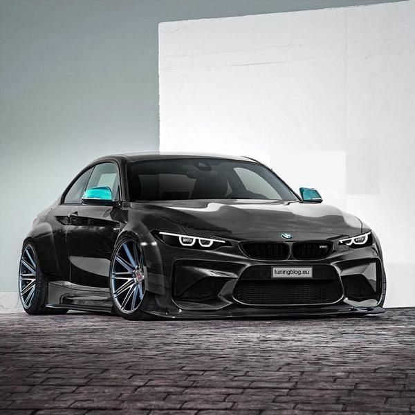 Rendering BMW M2 F87 Widebody Bad Slammed 1 2 Rendering BMW M2 F87 Widebody in Schwarz by tuningblog