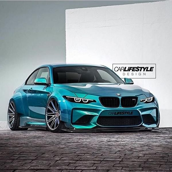 Rendering BMW M2 F87 Widebody Bad Slammed 2 1 Rendering BMW M2 F87 Widebody in Schwarz by tuningblog