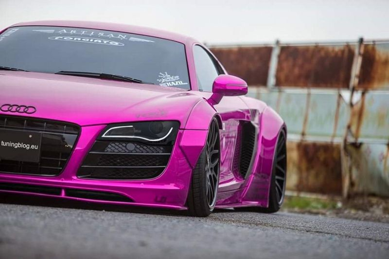 Slammed Liberty Walk Audi R8 Widebody Pink tuningblog.eu 1 Liberty Walk Audi R8 Widebody in Pink by tuningblog.eu 1