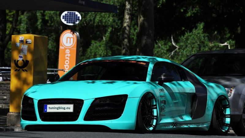 Audi R8 Tiffanyblue Airride widebody tuning 1 Audi R8 Coupe in Tiffanyblue & mit Airride by tuningblog.eu