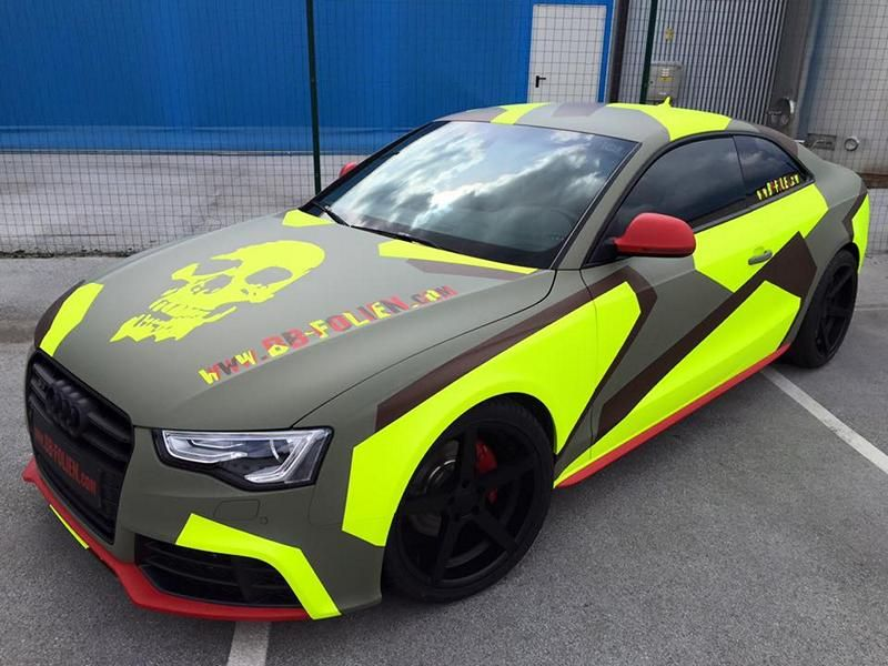 BB Folien Bele Bo%C5%A1tjan Audi A5 S5 Coupe Skull Neon Fluorescent Tuning Folierung 1 Neues Outfit   BB Folien Bele Boštjan Audi A5 S5 Skull Folierung