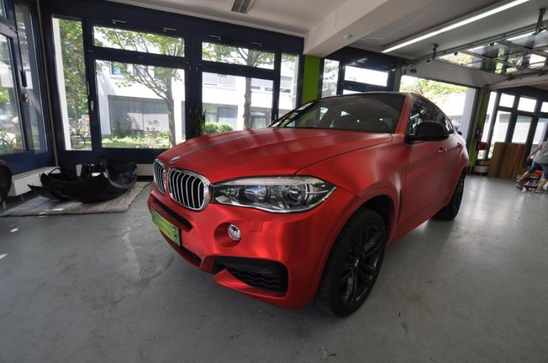 Chrom Rot matt Folierung gebürstet Wrap Print Tech BMW X6 F16 Tuning (1)