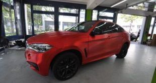 Chrom Rot matt Folierung geb%C3%BCrstet Wrap Print Tech BMW X6 F16 Tuning 2 1 e1466850966530 310x165 Porsche Panamera Turbo mit Folierung in Aluminium metallic matt