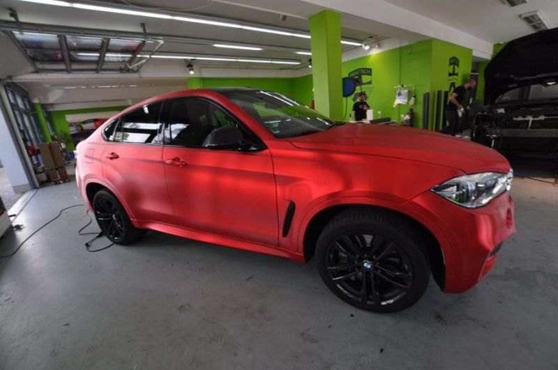 Chrom Rot matt Folierung gebürstet Wrap Print Tech BMW X6 F16 Tuning (3)