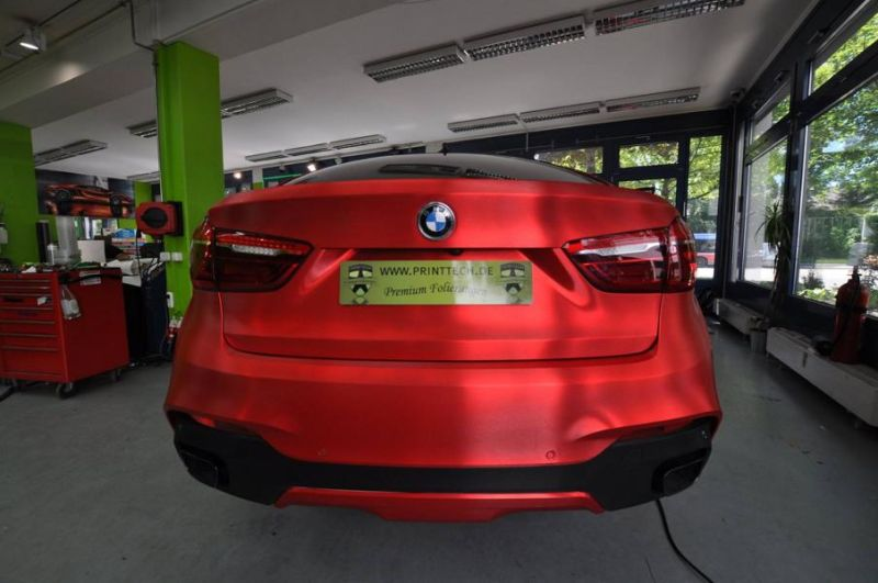 Chrom Rot matt Folierung gebürstet Wrap Print Tech BMW X6 F16 Tuning (6)