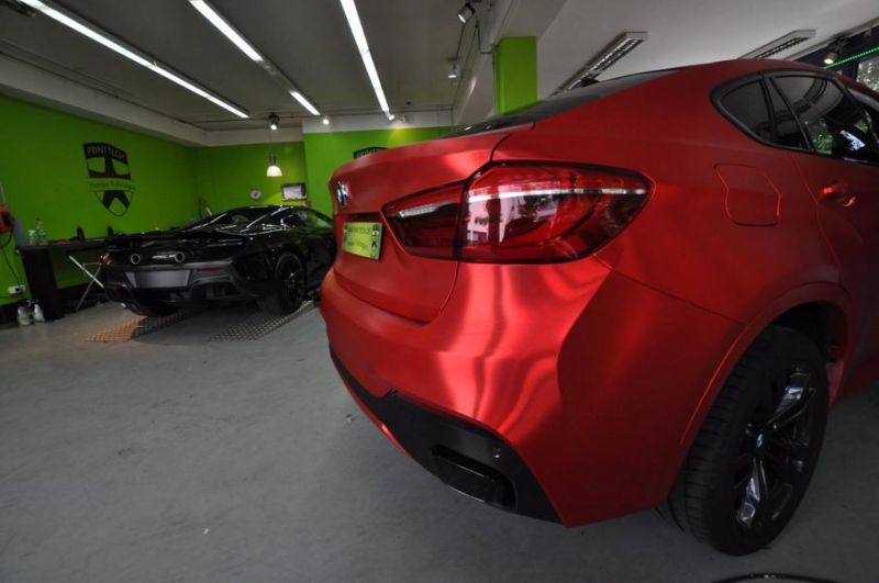 Chrom Rot matt Folierung gebürstet Wrap Print Tech BMW X6 F16 Tuning (8)
