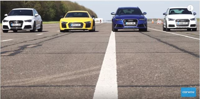 Dragerace Audi R8 RS6 RS3 S1 RS2 Ducati 4k Video: Dragerace   Audi R8, RS6, RS3, S1, RS2 & Ducati 4k