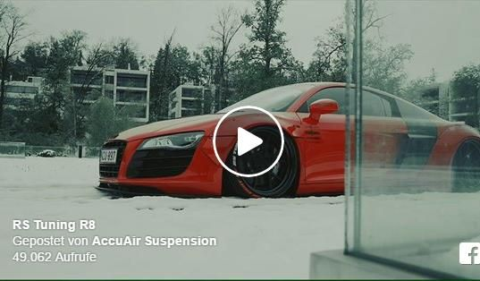 Widebody Audi R8 Accuair Liberty Rotiform tuning Video: Spaß im Schnee   AccuAir Audi R8 Widebody in Rot