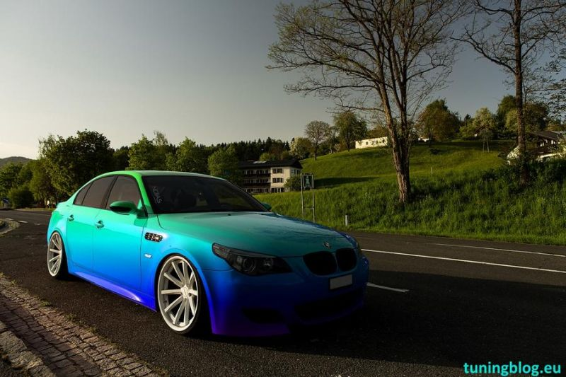 bmw e60 m5 with Vossen dual concave wheels in wothersee tuningblog.eu BMW E60 M5 Colored tuning BMW E60 M5 V10 auf Vossen Wheels by tuningblog.eu