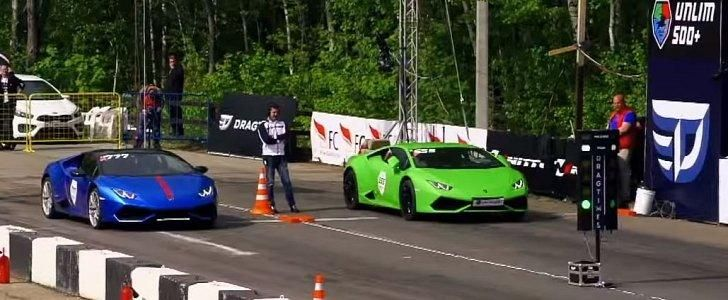 dragerace Gosha Turbo Tech Lamborghini Huracan Evotech tuning 1 Video: 950PS Lamborghini Huracan vs. 650PS Huracan