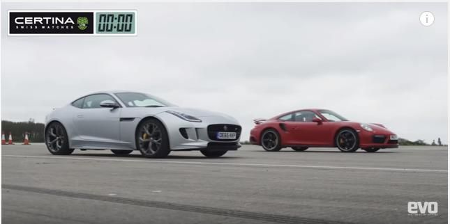 AWD Jaguar F Type gegen Porsche 911 991 Turbo S Video: AWD Jaguar F Type gegen Porsche 911 (991) Turbo S