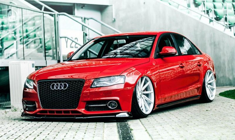 audi a4 b8 limousine rot red tuning vossen wheels. Black Bedroom Furniture Sets. Home Design Ideas