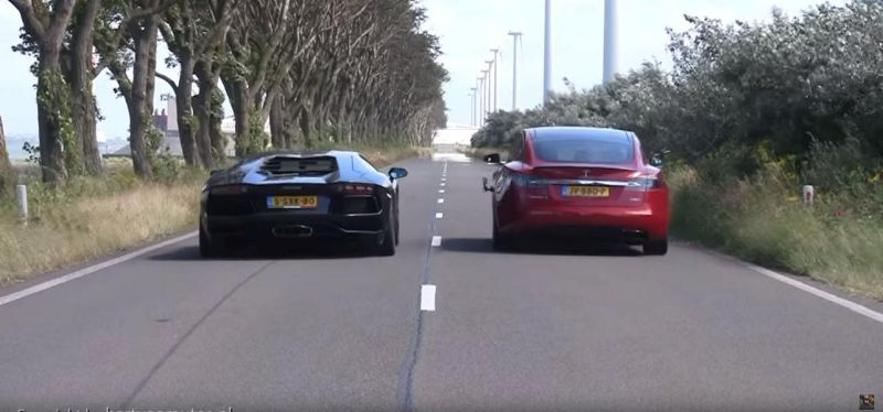 Lamborghini Aventador LP700 4 vs. Tesla Model S P90D Tuning Video: Lamborghini Aventador LP700 4 vs. Tesla Model S P90D