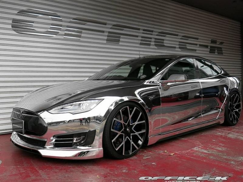 Office K Chrom Wrap Folierung Tesla Model S P85D Tuning Forgiato ECL 1 Voll Chrom Optik  > Office K veredelt das Tesla Model S