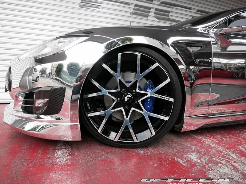 Office K Chrom Wrap Folierung Tesla Model S P85D Tuning Forgiato ECL 12 Voll Chrom Optik  > Office K veredelt das Tesla Model S