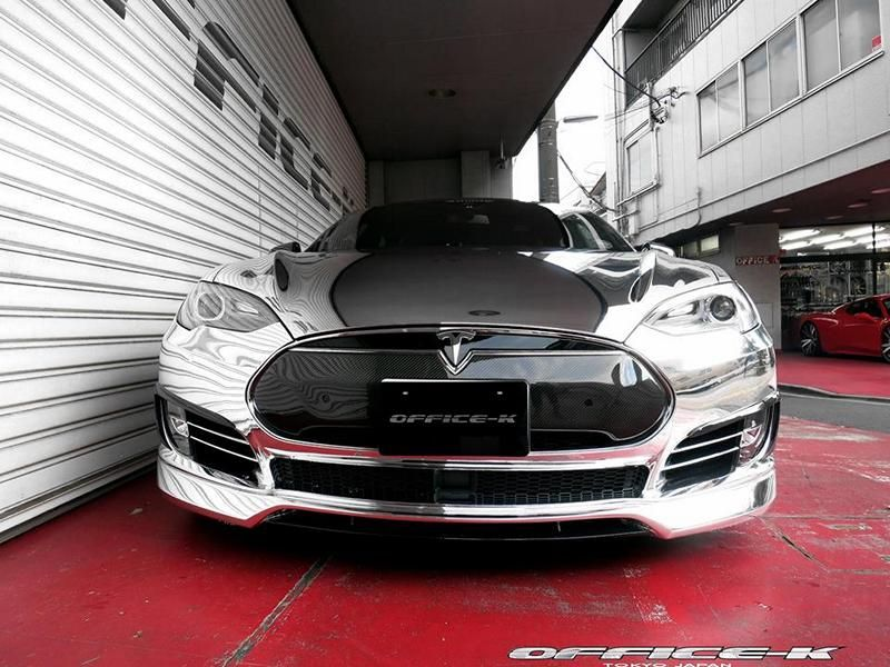 Office K Chrom Wrap Folierung Tesla Model S P85D Tuning Forgiato ECL 2 Voll Chrom Optik  > Office K veredelt das Tesla Model S