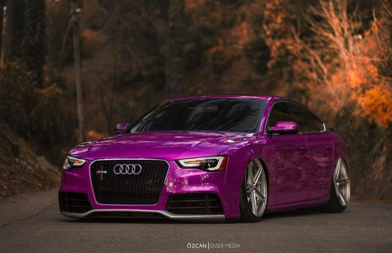 Tieferlegung Audi A5 RS5 Coupe purple tuning 1 Slammed Audi A5 RS5 Coupe mit FlipFlop Optik by tuningblog.eu
