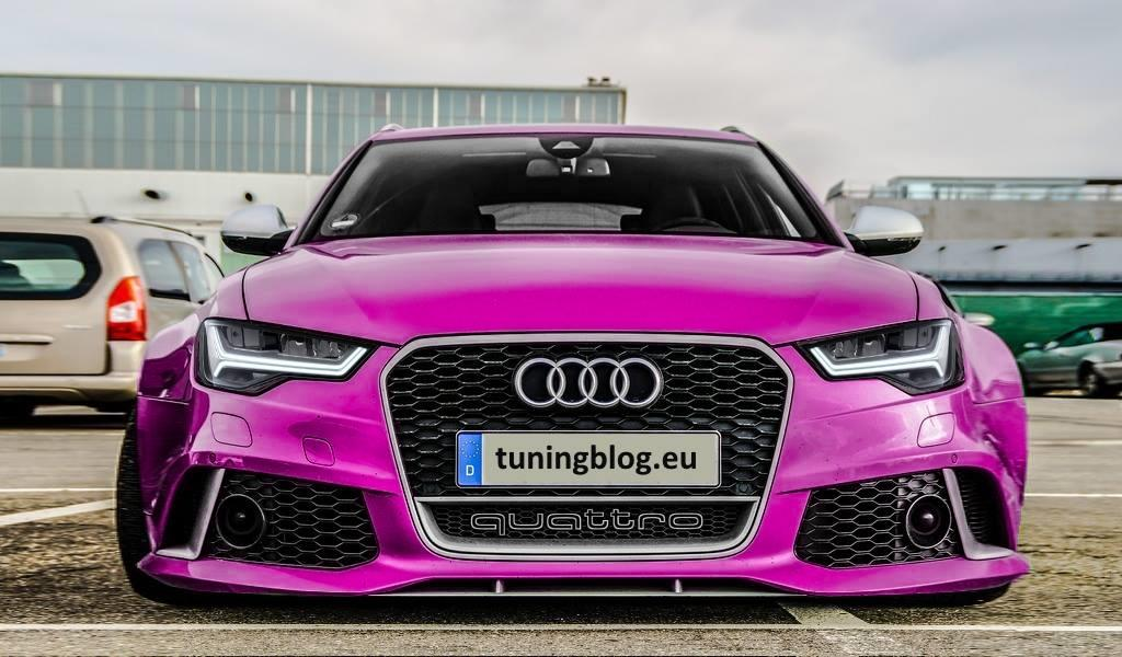 Audi A6 C7 RS6 Avant Pink LCI FL Scheinwerfer Widebody Audi A6 C7 RS6 Avant in Javagreen by tuningblog.eu