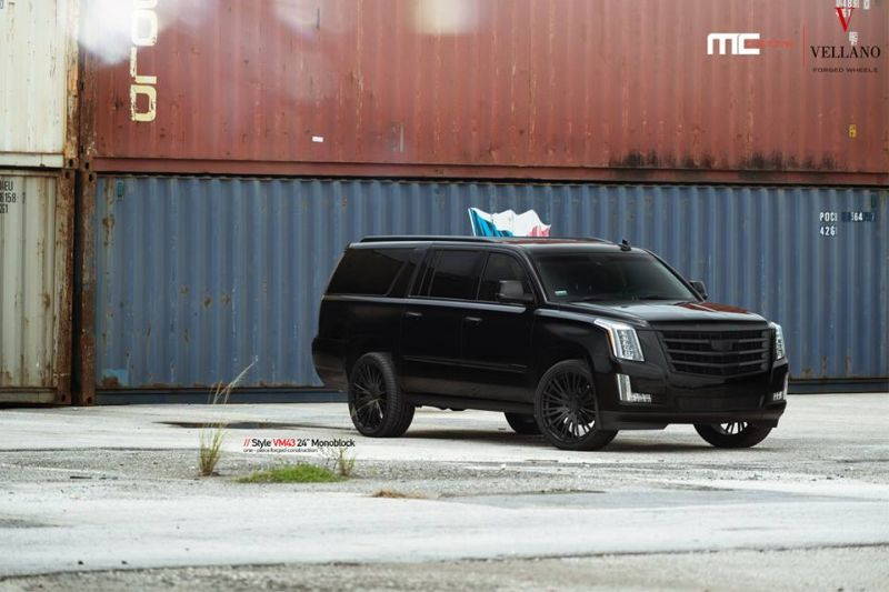 Cadillac Escalade Tuning 24 Zoll VM43 Tuning MC Customs 1 Monster   Schwarzer Cadillac Escalade auf 24 Zoll by MC Customs
