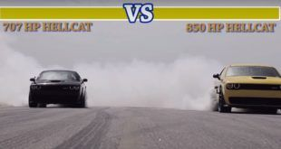 Dragerace Dodge Challenger Hellcat HPE850 vs. Serienmodell Tuning3