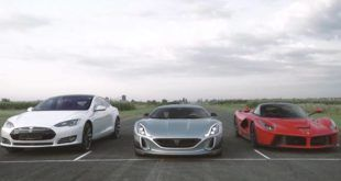 Dragerace Ferrari LaFerrari vs. Rimac Concept One vs. Tesla P90D 1 e1471408818428 Video: Dragerace   Ferrari LaFerrari vs. Rimac Concept One vs. Tesla P90D