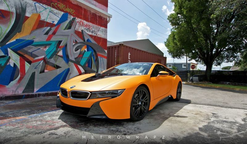 Metro Wrapz BMW i8 Matt Orange Folierung Wrap Tuning 1 Fotostory: Metro Wrapz BMW i8 mit Matt Orange Folierung