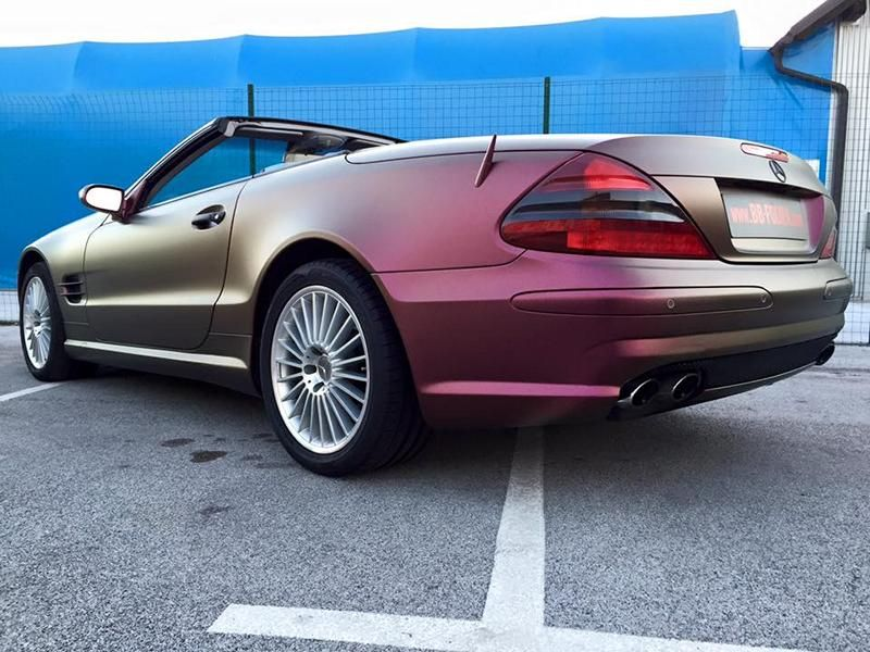 Platinum Purple X matt Folierung Mercedes SL R230 by BB Folien Tuning 2 Platinum Purple X Folierung am Mercedes SL by BB Folien