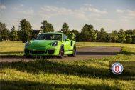 Porsche 911 GT3 RS HRE P104 Alufelgen Satin Black Tuning Giftgrün 3 190x126 Porsche 911 GT3 RS auf HRE P104 Alufelgen in Satin Black