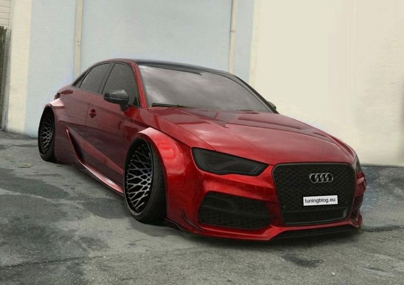 Widebody Audi A3 RS3 tuningblog.eu Rendering Fett   Audi A3 S3 Limousine als Widebody Version auf Rotiforms