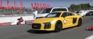 160PS Go Cart vs. Audi R8 V10 Plus G Power M3 2 1 e1472722416866 310x131 Video: Dragerace   160PS Go Cart vs. Audi R8 V10 Plus & G Power M3