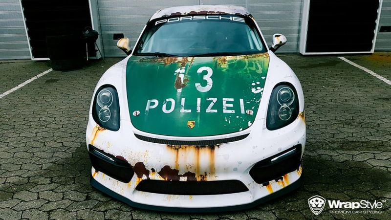 Ratlook-Polizei Folierung Tuning Porsche Cayman GT4  981 (1)