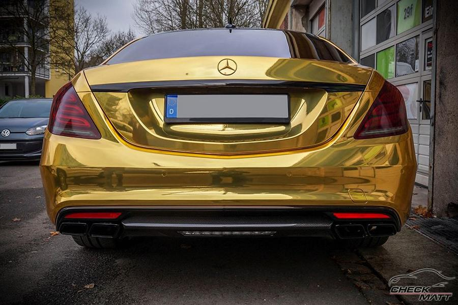 Mercedes S65 AMG Langversion Goldchrom Folierung Tuning 4 Mercedes S65 AMG Langversion mit Gold Folierung