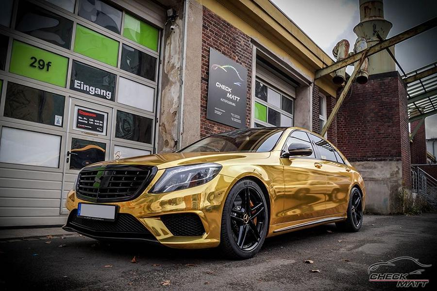Mercedes S65 AMG Langversion Goldchrom Folierung Tuning 5 Mercedes S65 AMG Langversion mit Gold Folierung