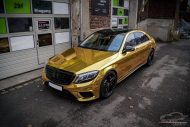 Mercedes S65 AMG Langversion Goldchrom Folierung Tuning 6 190x127 Mercedes S65 AMG Langversion mit Gold Folierung