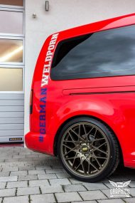 VW Caddy Cardinal Red Folierung Tuning BBS KW 10 190x285 Unübersehbarer VW Caddy in Cardinal Red by SchwabenFolia CarWrapping.de