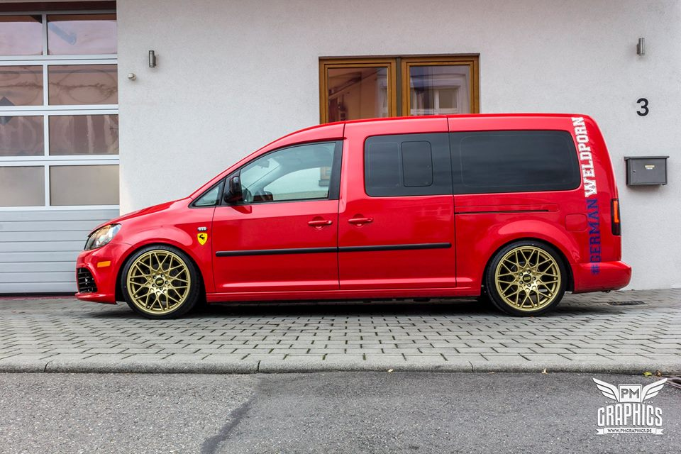 vw caddy cardinal red folierung tuning bbs kw 2. Black Bedroom Furniture Sets. Home Design Ideas
