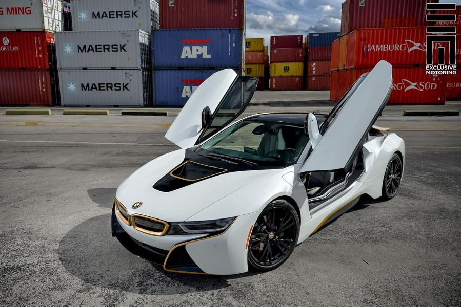 Matt White Foiling And Gold Accents Tuning Bmw I8 1 Tuningblog Eu