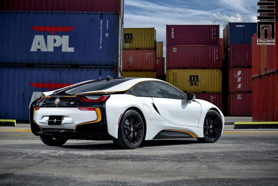 Matt White Foiling And Gold Accents Tuning Bmw I8 12 Tuningblog Eu