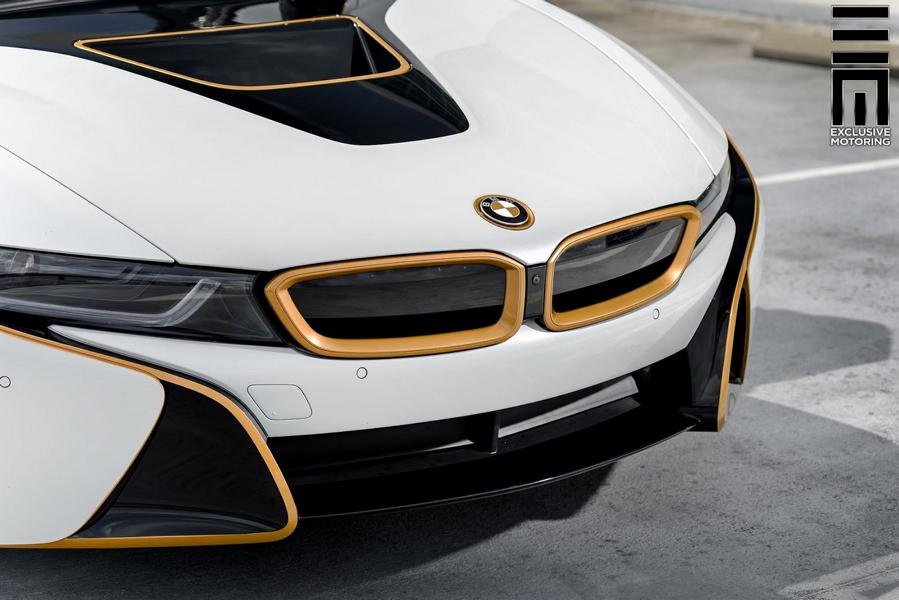 Matt White Foiling And Gold Accents Tuning Bmw I8 17 Tuningblog Eu