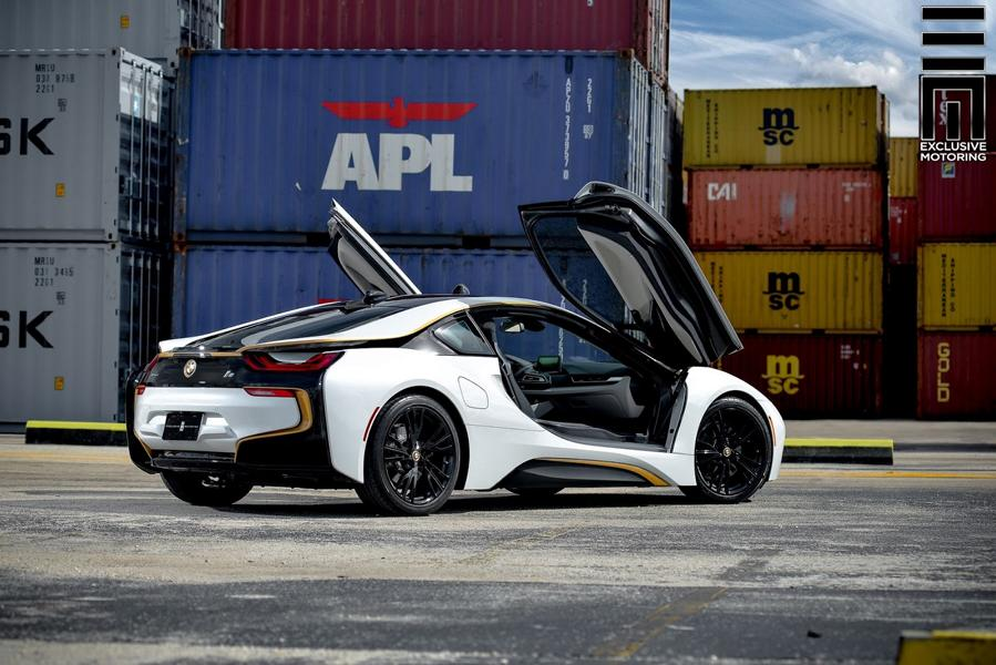 Matt White Foiling And Gold Accents Tuning Bmw I8 6 Tuningblog Eu