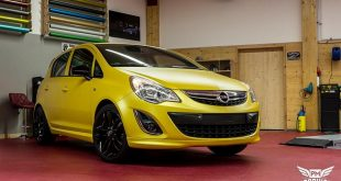 Opel Corsa D Sunflower Matt Metallic Gelb Folierung Tuning 5 310x165 Kinetic Dragonfly Black am VW Golf MK7 GTD