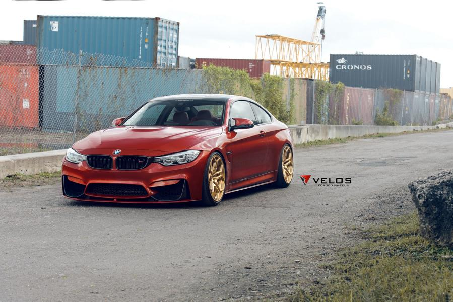 Sakhir Orange BMW M4 Loaded With Aftermarket Parts 1 20 Zoll Velos XX Schmiedefelgen am BMW M4 F82 Coupe