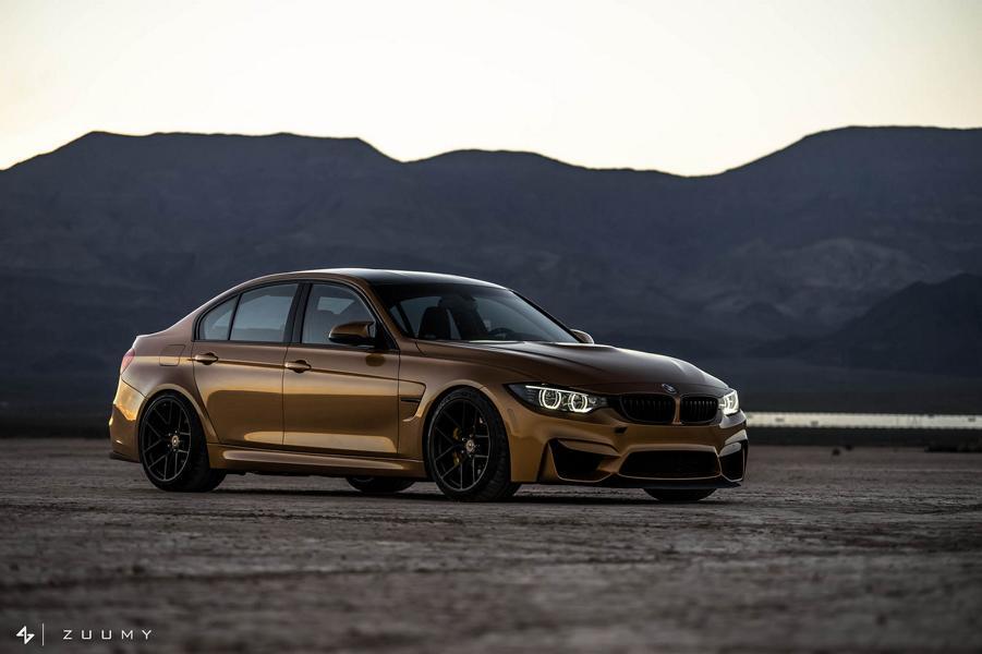 Sunburst Gold Metallic BMW M3 F80 HRE R101 Tuning 20 Seltener Sunburst Gold lackierter BMW M3 auf HRE Alu's