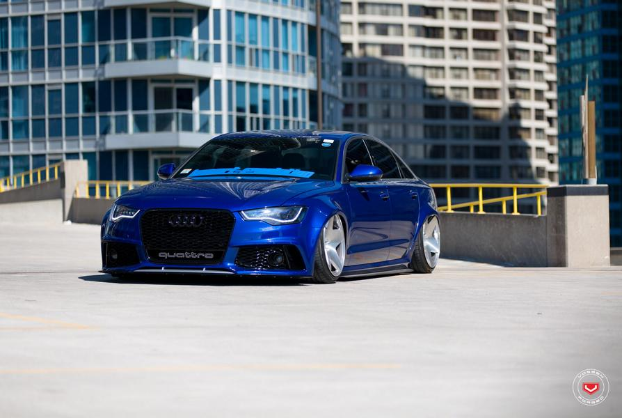 rs6 optik am blauen audi a6 mit vossen vps 318 felgen. Black Bedroom Furniture Sets. Home Design Ideas